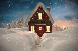 Composite image of christmas house against fir tree forest in snowy la